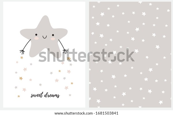Sweet Dreams. Cute Nursery Art with Gray Smiling Little Star Isolated on a White Background. Kawaii Style Vector Illustration. Starry Light Gray and White Vector Pattern.White Stars ona a Gray Layout.