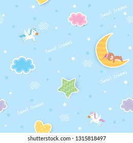 Sweet dreams cute seamless pattern design decorated with cloud, star,moon,heart and sleeping bear for baby bedroom wallpaper