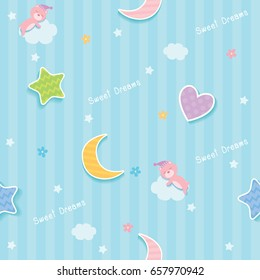 Sweet dreams cute seamless pattern design decorated with cloud, star,moon,heart and sleeping bear for baby bedroom wallpaper.