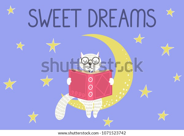 Sweet Dreams Cute Smart White Cat Stock Vector (Royalty Free