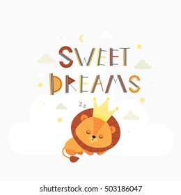 Sweet dreams. Cute vector illustration with  little sleeping lion. Child. Baby.
