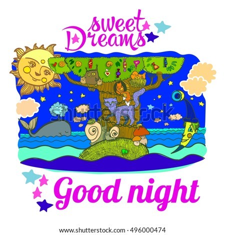 Sweet Dreams Good Night Illustration Sleeping Stock Vector Royalty