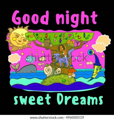 Sweet Dreams Good Night Illustration Sleeping Stock Vector Royalty
