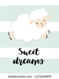 Sweet dreams - kids nursery art poster. Cute sheep on a mint striped background. Baby illustration.  Modern brush calligraphy. Scandinavian style.