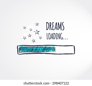 Sweet dreams loading concept. Progress bar design. Good night funny background. Vector illustration