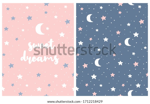 Sweet Dreams. Lovely Nusery Art with White Hand Drawn Stars and Moon Isolated on a Pink and Blue Background. Starry Sky Seamless Vector Pattern. Cute Night Sky Illustration for Card, Wall Art, Fabric.