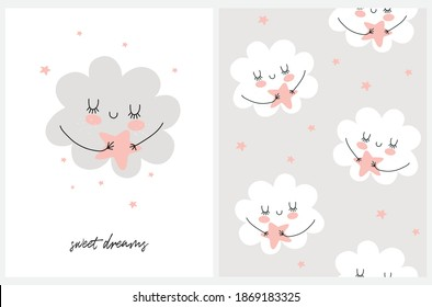 Sweet Dreams. Nursery Card and Seamless Vector Pattern with Cute Hand Drawn Fluffy Cloud and Stars. Funny Repatable Print with White Clouds Isolated on a Light Gray Background ideal for Fabric.