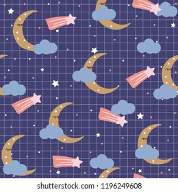 Sweet dreams seamless pattern with moon and clouds. Childish cute print. Vector hand drawn illustration.