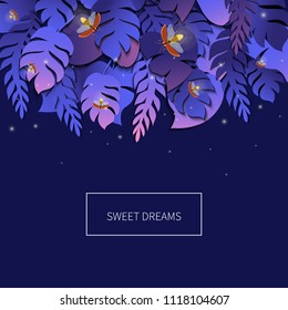 Sweet dreams tropical palm leaves template with twinkling fireflies on purple background. Summer trendy floral vector background made in 3D paper cut out style. Wildlife concept.