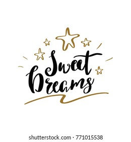 Sweet dreams typography lettering design, vector illustration design.