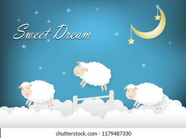 Sweet drean text with sheep jumping on cloud paper art style illustration