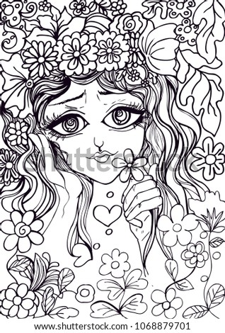 Sweet Eyes Girls Doodle Drawing Pen Stock Vector Royalty Free