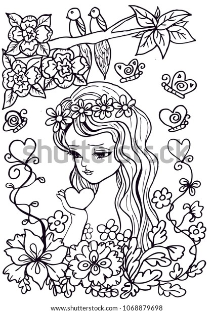 Sweet Eyes Girls Doodle Drawing Pen Stock Vector Royalty Free