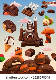 Sweet factory. Chocolate castle cartoon illustration. 3d vector icon set