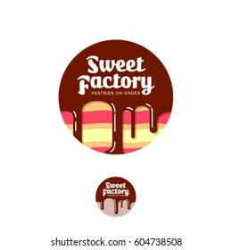 Sweet factory logo. Pastry emblem. Cake with chocolate and letters in a circle.
