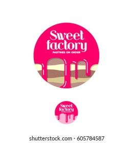Sweet factory logo. Pastry emblem. Cake with syrup and letters in a circle.