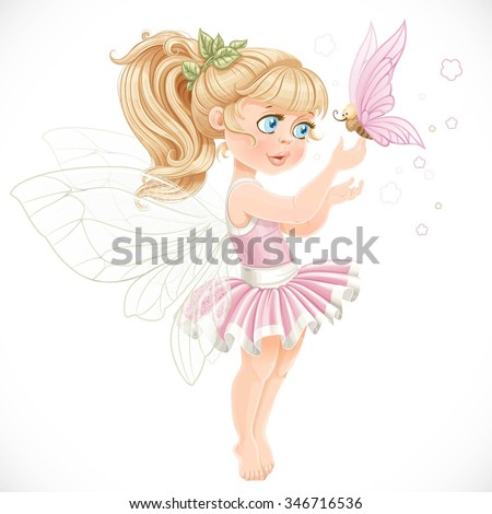 Sweet fairy in a pink tutu holding a large butterfly on the finger isolated on a white background