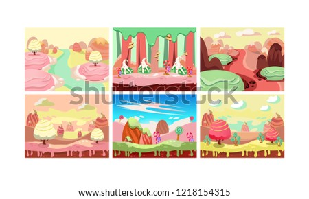 Sweet Fantasy Landscape Set Candy Land Elements For Computer Game Interface Vector Il Ration On