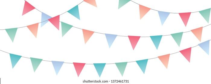 Sweet festive party pennants full vector banner