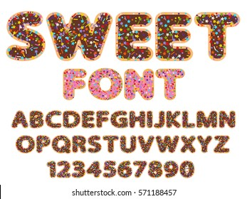 sweet flat vector rounded font alphabet and numeral signs with bakery sprinkles topping stars, dots and lines