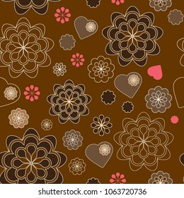 Sweet flowers seamless pattern. Color swatch included