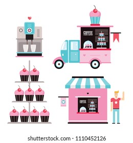 Sweet Food business design elements Icons collection coffee machine Cupcakes Muffins car Truck Small café façade building set Vector illustration