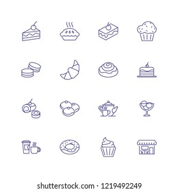 Sweet food icons. Set of line icons on white background. Cafeteria, teapot, pastry. Cafe concept. Vector can be used for topics like food, menu, unhealthy eating