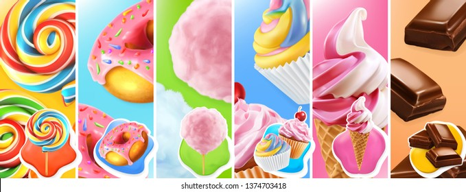 Sweet food. Lollipop, donut, cotton candy, cupcake, ice cream, chocolate. 3d realistic vector icon set