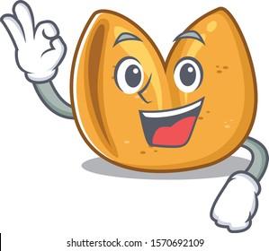 Sweet fortune cookie cartoon character making an Okay gesture
