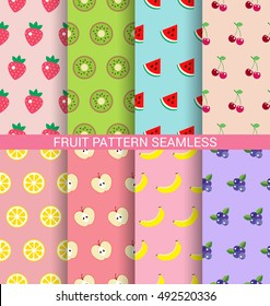Sweet fruit seamless pattern background set