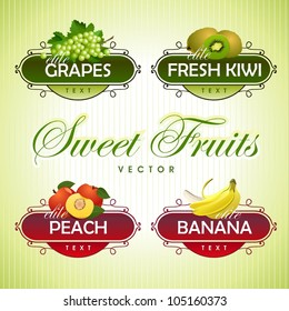 Sweet Fruits. Grapes, kiwi, peach, banana