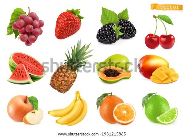 Sweet fruits. Grapes, strawberry, blackberry, cherry, watermelon, pineapple, papaya, mango, apple, banana, orange, lime. 3d realistic vector objects