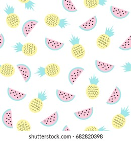 Sweet fruits seamless pattern. Vector illustration.