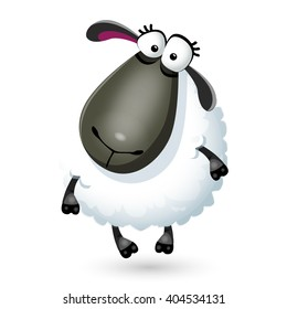 Sweet funny cartoon sheep kids character. Vector illustration on white background
