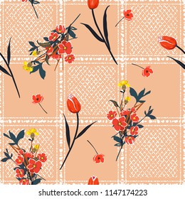 Sweet garden flowers on hand drawn window check or grid seamless pattern vector scatter repeat for fashion,fabric ,and all prints on pink nude background.