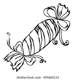 Sweet gift with a bows and patterns. Hand-drawn black and white sketch vector illustration