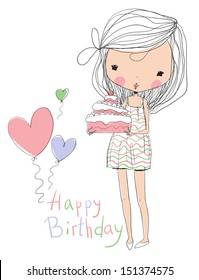 sweet girl with birthday cake