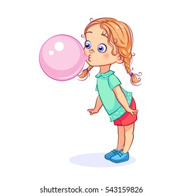Sweet girl inflates a big pink ball of chewing gum. Full-length cartoon vector child character.