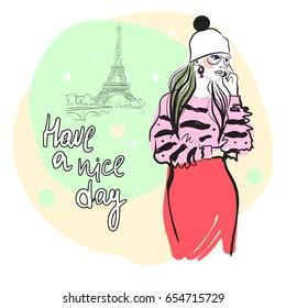 Sweet girl in Paris Fashion illustration. Vector