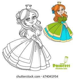 Sweet girl princess with flowers in her hair color and outlined picture for coloring book on white background