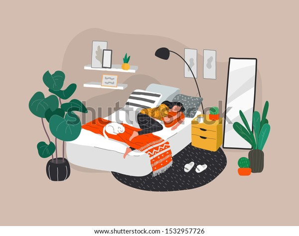 Sweet girl sleeping in bed with relaxing white cat . Daily life and everyday routine scene by young woman in scandinavian style cozy interior bedroom with homeplants. Cartoon vector illustration.