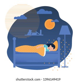 Sweet Girl Sleeping in Bed under Blanket. Pretty Female Child Having Colorful Night Dreams. Happy Teenager Resting. Goodnight and Healthy Sleep Time. Cartoon Home Interior Vector Flat Illustration