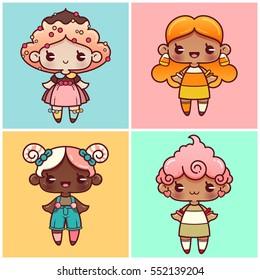 Sweet girls part 1; cupcake, candy corn, lollipop and candy floss