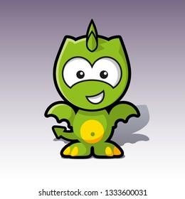 sweet green friendly dragon character