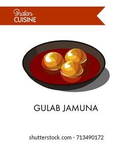 Sweet gulab jamuna in black bowl isolated illustration