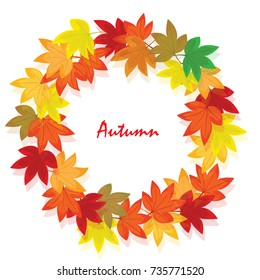 Sweet gum leaves (American sweet gum). The circle of leaf are in the autumn. It is vector illustration for frame ans card. It vector is draw and no trace or copy image.