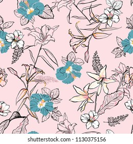 Sweet hand drawn line sketch flowers lilly mix with hibiscus and many kind of  florals ,seamless pattern vector for fashion ,fabric, and all prints on sweet pink background