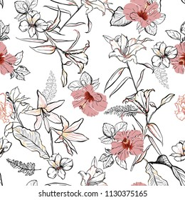 Sweet hand drawn line sketch flowers lilly mix with hibiscus and many kind of  florals ,seamless pattern vector for fashion ,fabric, and all prints on white background