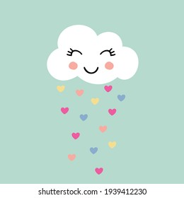 Sweet happy cloud and hearts