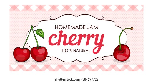 Sweet and healthy homemade cherry jam marmalade paper label vector illustration